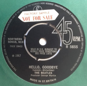 "Beatles Hello Goodbye NMint 7"" Factory Sample Promo Demo Vinyl Single UK 1967"