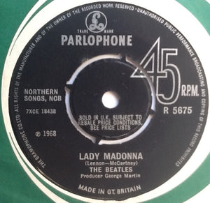 "Beatles Lady Madonna 2 Track 7"" Factory Sample Promo Demo Vinyl Single UK 1968"