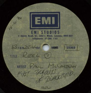 "Beatles Paul McCartney Blackbird Rehearsal Rare 12"" Acetate EMI Studios UK 1974"