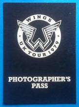Load image into Gallery viewer, Beatles Paul McCartney Wings Original Unused Backstage Pass UK Tour 1979