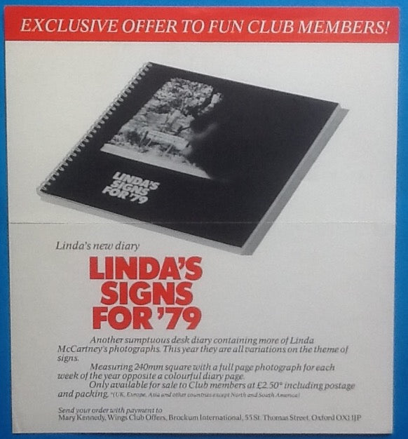 Beatles Paul Linda McCartney Desk Diary Handbill Flyer 1979
