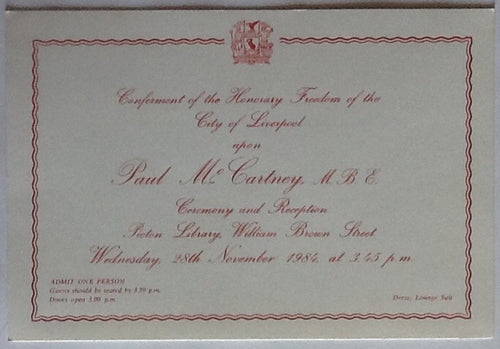 Beatles Paul McCartney Original Conferment of Freedom of City of Liverpool Invitation Ticket Picton Library 1984