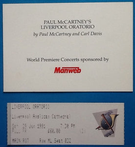 Beatles Paul McCartney Concert Ticket and Invitation World Premiere Liverpool Oratorio 1991
