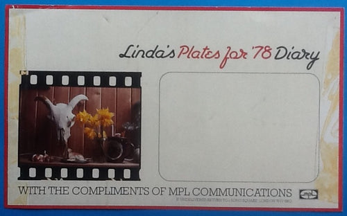 Beatles Paul Linda McCartney MPL Compliments Slip For Linda's Plates For '78 Desk Diary
