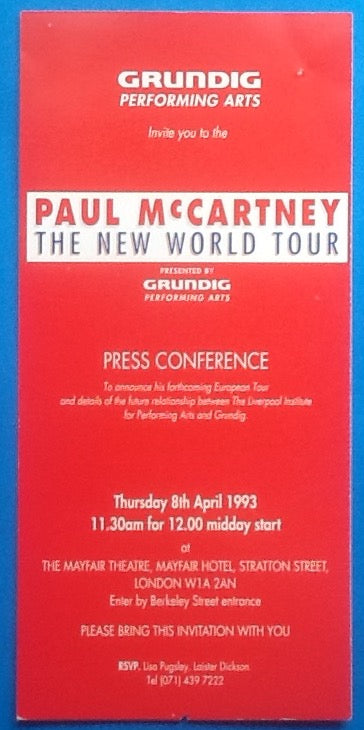 Beatles Paul McCartney Press Conference Invitation Ticket London 1993