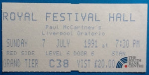 Beatles Paul McCartney Concert Ticket Liverpool Oratorio London 1991