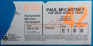 Beatles Paul McCartney Used Concert Ticket Munich 1993