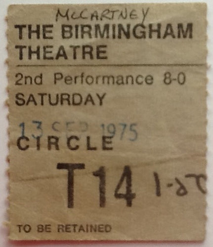 Beatles Paul McCartney Wings Original Concert Ticket Hippodrome Theatre Birmingham 1975