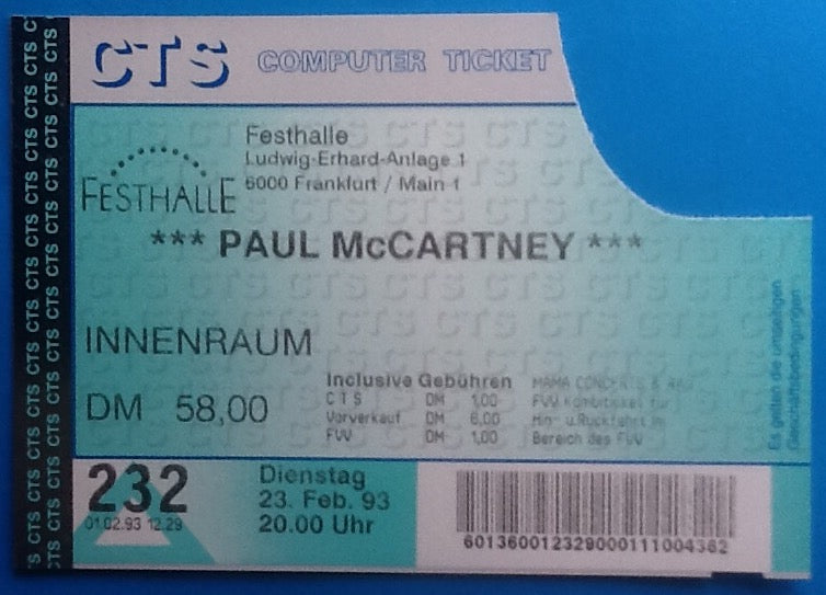 Beatles Paul McCartney Used Concert Ticket Frankfurt 23rd Feb 1993