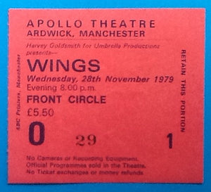 Paul McCartney Wings Original Concert Ticket Manchester 1979