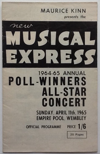 Beatles Rolling Stones Original Concert Programme NME Poll Winners Empire Pool Wembley 1965
