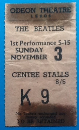 Beatles Concert Ticket Leeds 1963