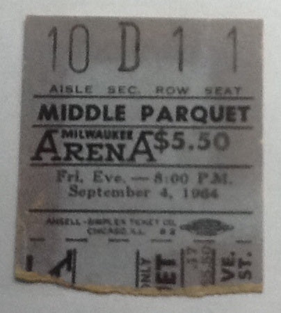 Beatles Concert Ticket Milwaukee 1964