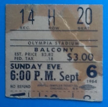 Load image into Gallery viewer, Beatles Original Used Concert Ticket Detroit 1964