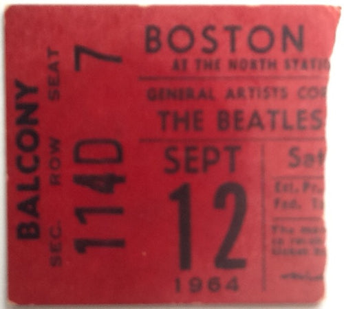 Beatles Rare Original Concert Ticket Boston Garden 1964