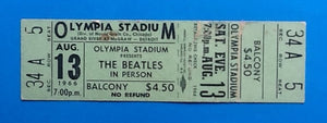 Beatles Original Unused Concert Ticket Detroit 1966