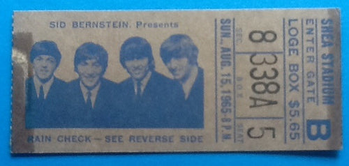 Beatles Concert Ticket New York 1965