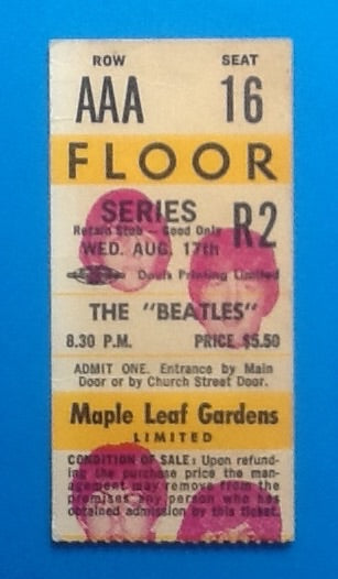 Beatles Original Used Concert Ticket Toronto 1966