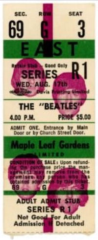 Beatles Original Unused Concert Ticket Toronto 1966