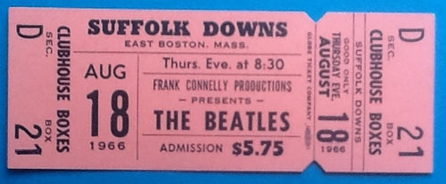 Beatles Original Unused NMint Concert Ticket 1966 Boston