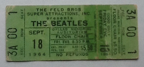 Beatles Unused Concert Ticket Dallas 1964