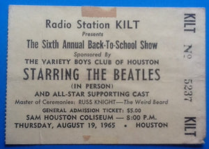 Beatles Concert Ticket Houston 1965