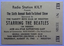 Load image into Gallery viewer, Beatles Original Used Concert Ticket Sam Houston Coliseum 1965