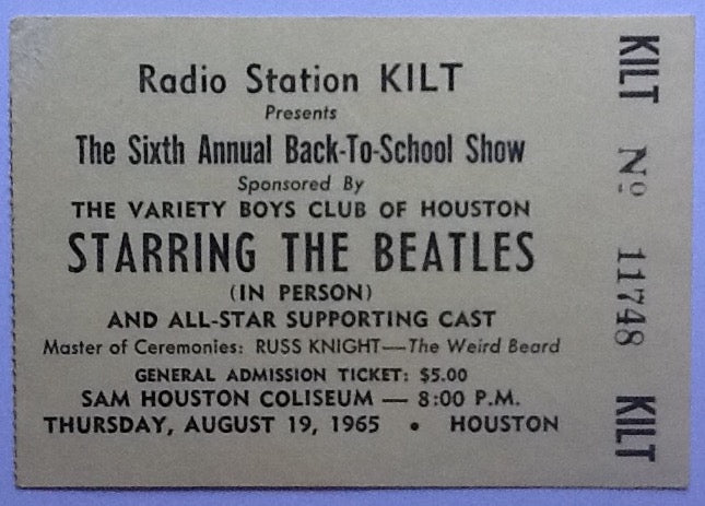 Beatles Original Used Concert Ticket Sam Houston Coliseum 1965