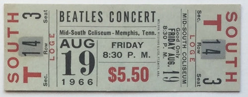 Beatles Original Unused Concert Ticket Mid South Coliseum Memphis 1966