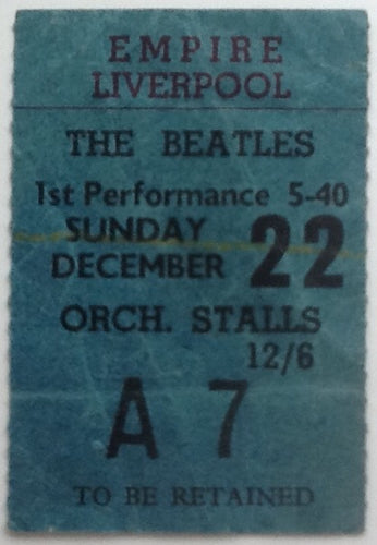 Beatles Original Used Concert Ticket Empire Theatre Liverpool 1963