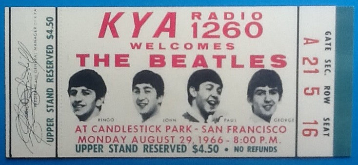Beatles Original Unused Concert Ticket San Francisco 1966