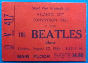 Beatles Original Used Concert Ticket Atlantic City 1964