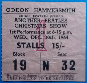 Beatles Original Concert Ticket Hammersmith London 30th Dec 1964