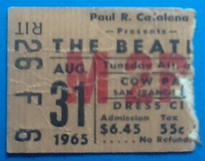 Beatles Concert Ticket San Francisco 1965