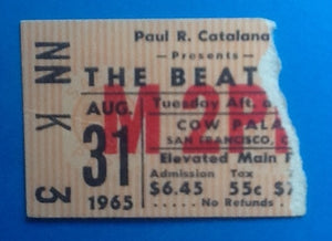 Beatles Original Used Concert Ticket San Francisco 1965