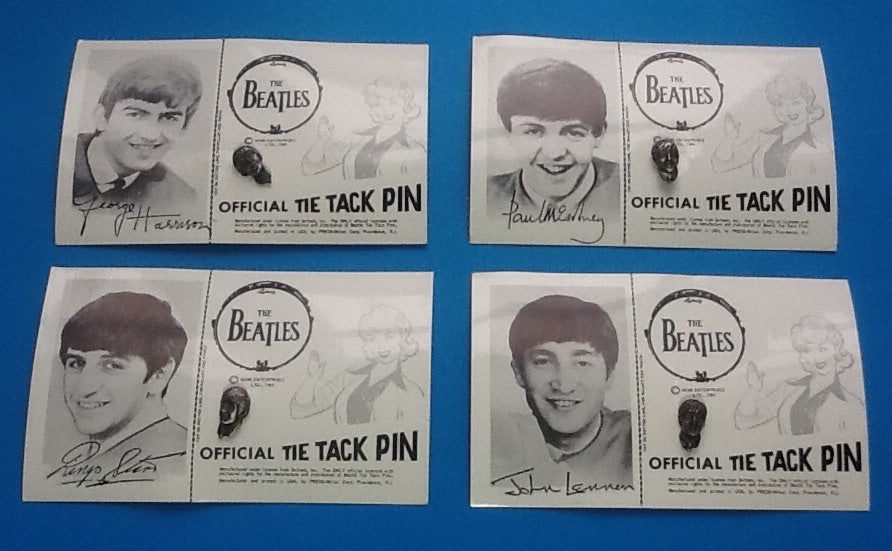 Beatles Complete Set of Official Tie Tack Pins on Backing Cards