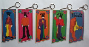 Beatles Yellow Submarine Original Complete Set of 5 Plastic Keychains Keyrings