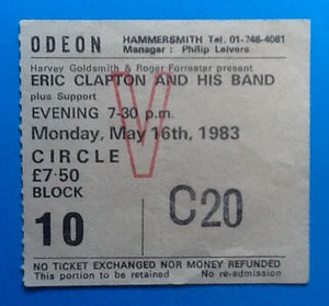 Eric Clapton Used Concert Ticket London 1983
