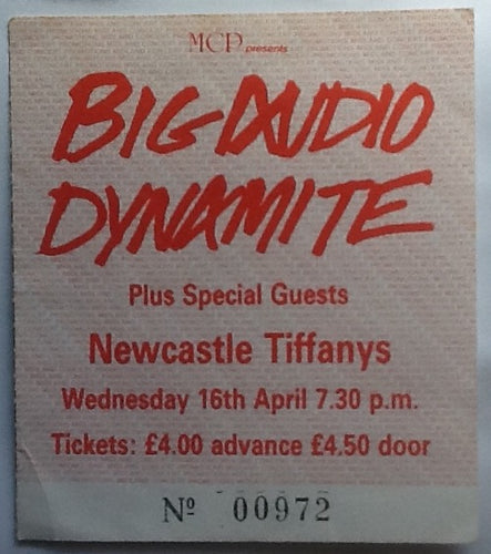 Big Audio Dynamite Original Used Concert Ticket Tiffany's Newcastle 1986