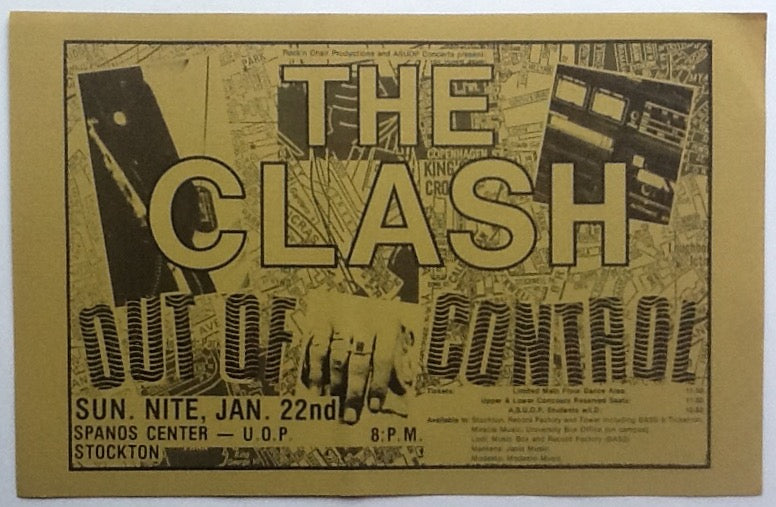 Clash Original Concert Handbill Flyer Stockton 1984