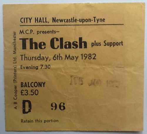 Clash Original Used Concert Ticket City Hall Newcastle 1982
