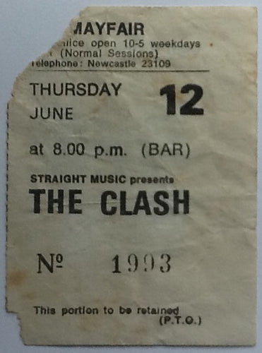 Clash Original Concert Ticket Mayfair Ballroom Newcastle 1980