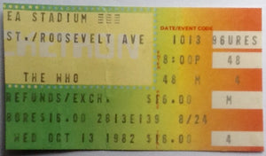 Who The Clash Original Used Concert Ticket Shea Stadium New York 13 Oct 1982