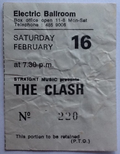 Clash Original Used Concert Ticket Electric Ballroom London 1980