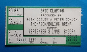 Eric Clapton Used Concert Ticket Knoxville 1995