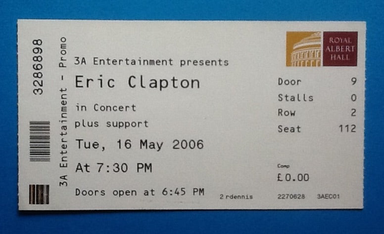 Eric Clapton Original Used Concert Ticket London 16th May 2006