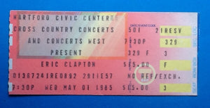 Eric Clapton Original Unused Concert Ticket Hartford 1985