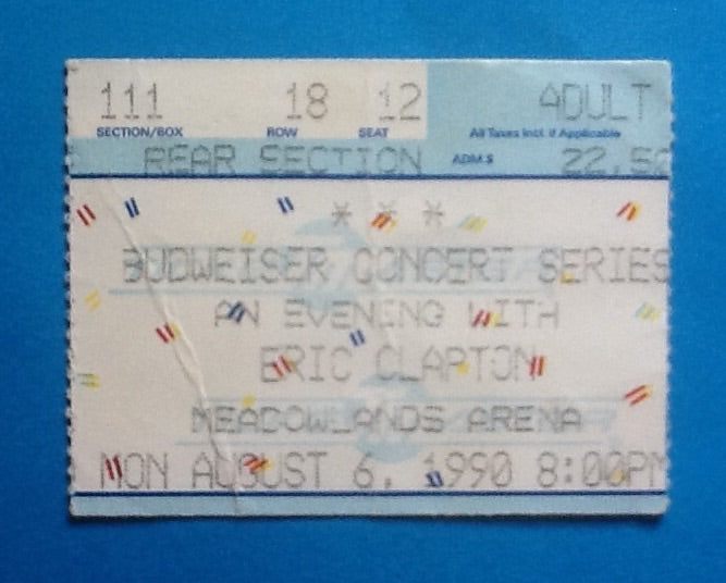 Eric Clapton Used Concert Ticket East Rutherford 1990