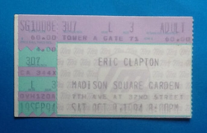 Eric Clapton Used Concert Ticket New York 1994
