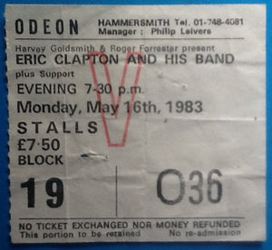 Eric Clapton Original Used Concert Ticket Hammersmith Odeon London 1983